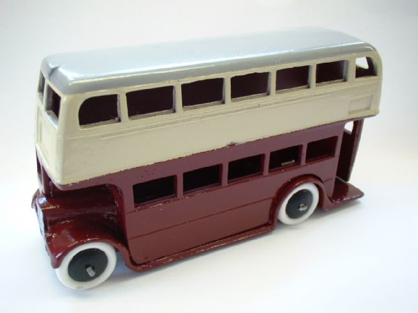 A DINKY TOYS COPY MODEL 29C PRE-WAR BUS IN WINE AND CREAM